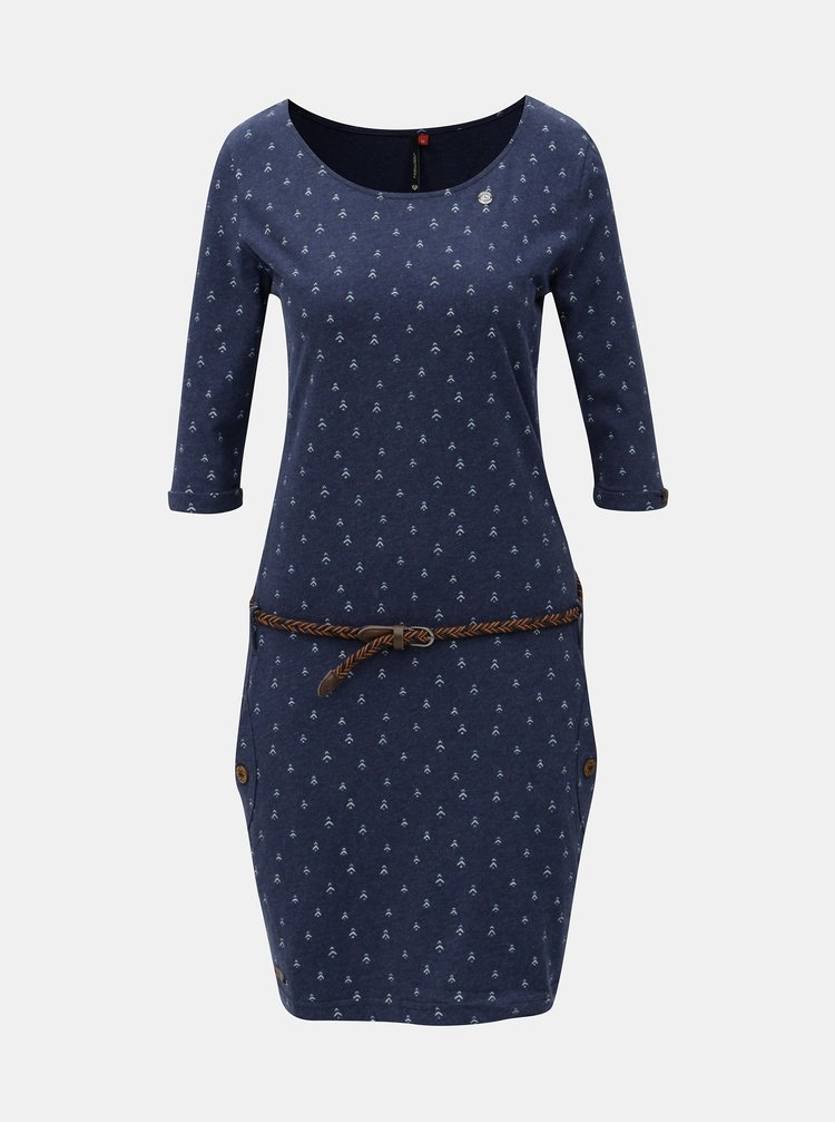 Modré vzorované šaty s vreckami a 3/4 rukávom Ragwear Tanya