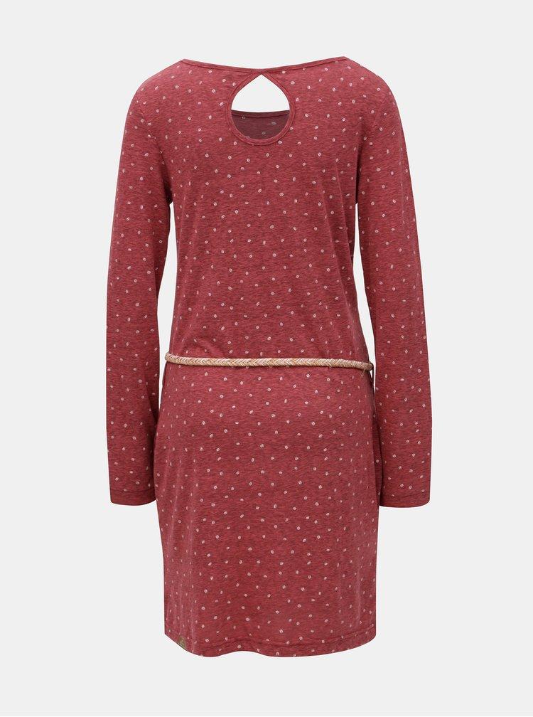 Vínové melírované šaty s dlhým rukávom a opaskom Ragwear