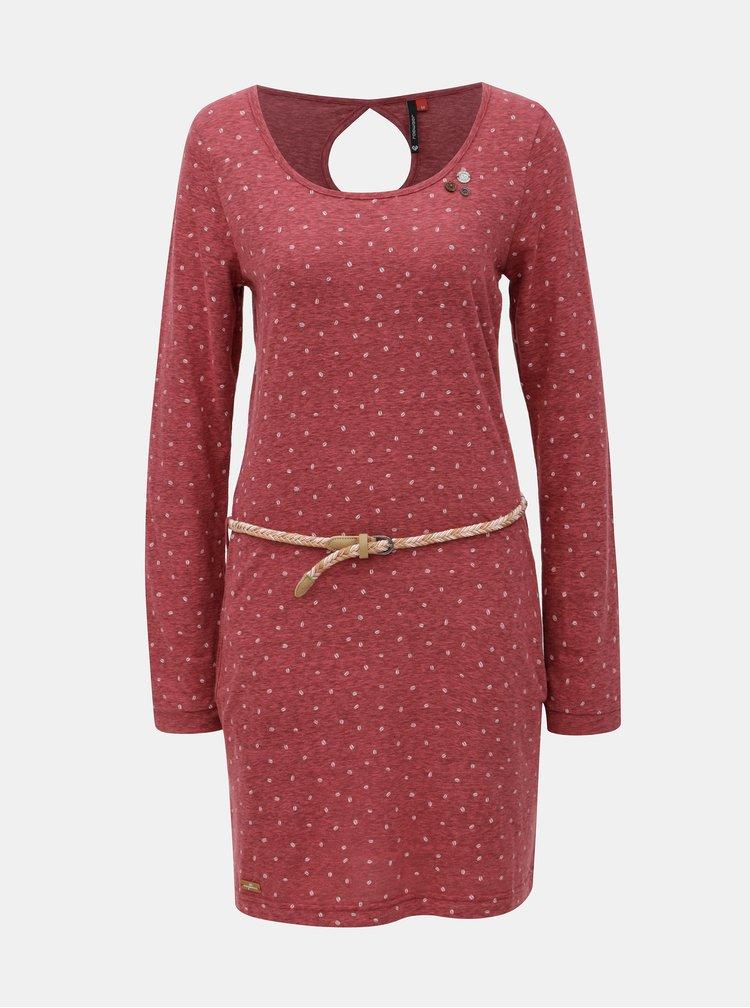 Vínové žíhané šaty s dlouhým rukávem a páskem Ragwear