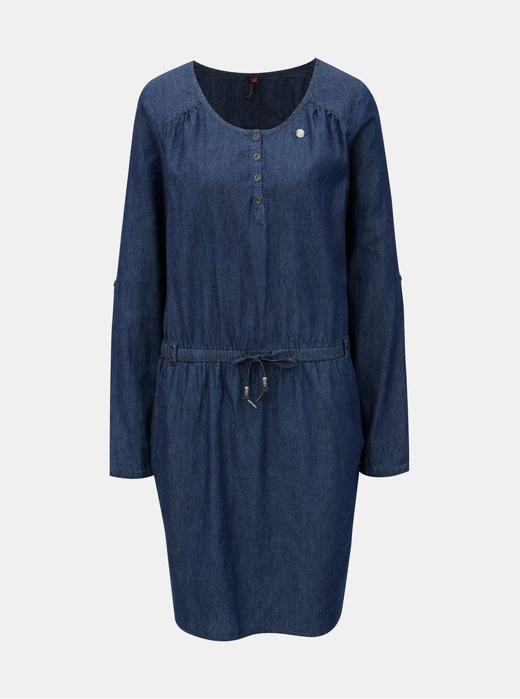 Tmavomodré rifľové šaty so zaväzovaním Ragwear Danila
