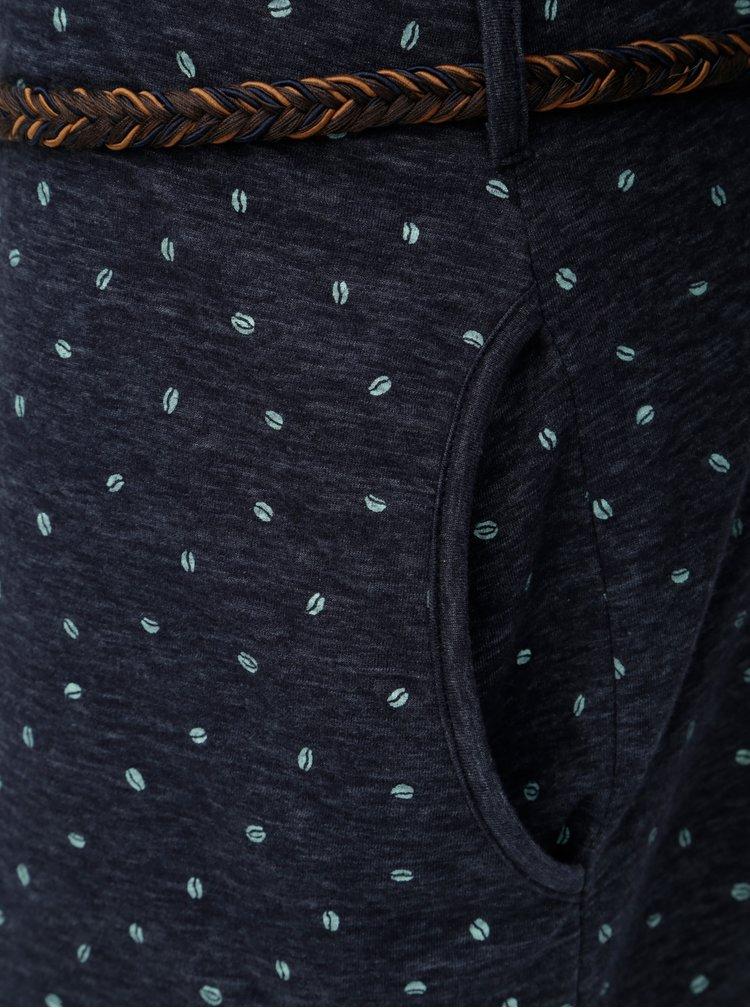 Rochie albastru inchis melanj cu maneci lungi si curea Ragwear
