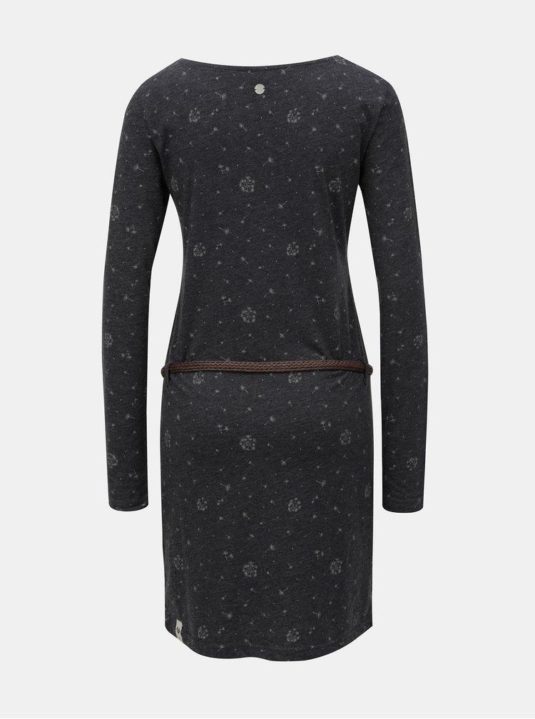 Sivé melírované šaty so vzorom a dlhým rukávom Ragwear Talona Organic