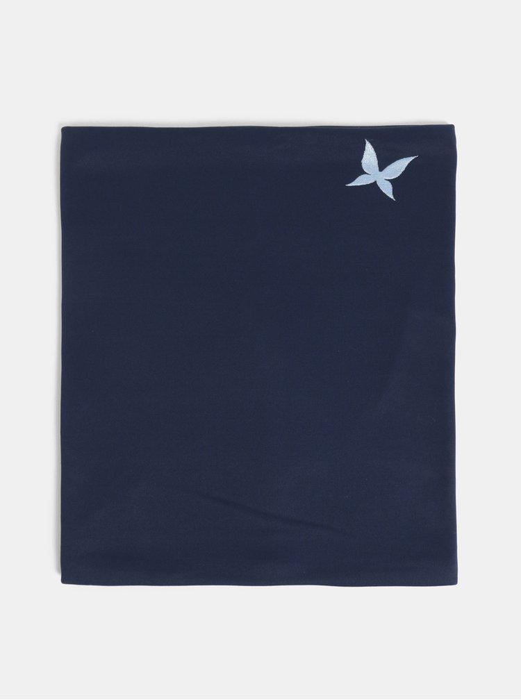 Tmavě modrý nákrčník s výšivkou motýla Kari Traa