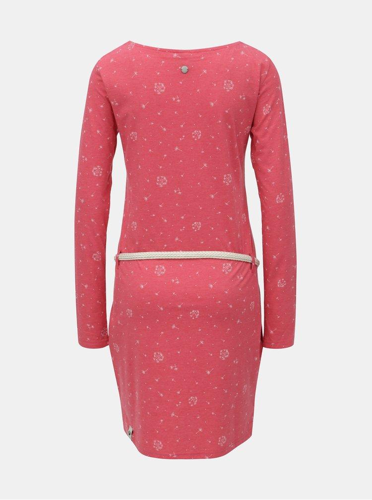 Červené žíhané šaty se vzorem a dlouhým rukávem Ragwear Talona Organic