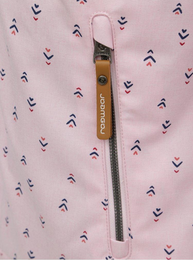 Ružová vzorovaná funkčná bunda s kapucňou Ragwear Nuggie