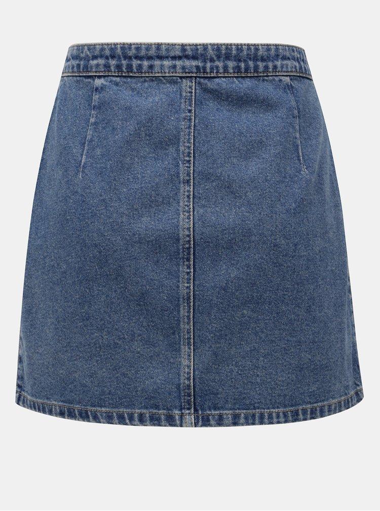 Modrá džínová zavinovací sukně Miss Selfridge