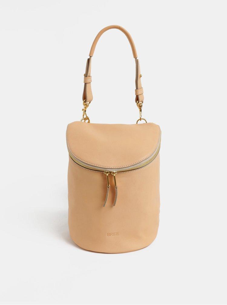 Béžový kožený batoh BREE Stockhlolm 40