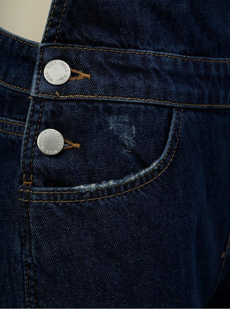 Salopeta albastru inchis din denim cu buzunare Miss Selfridge