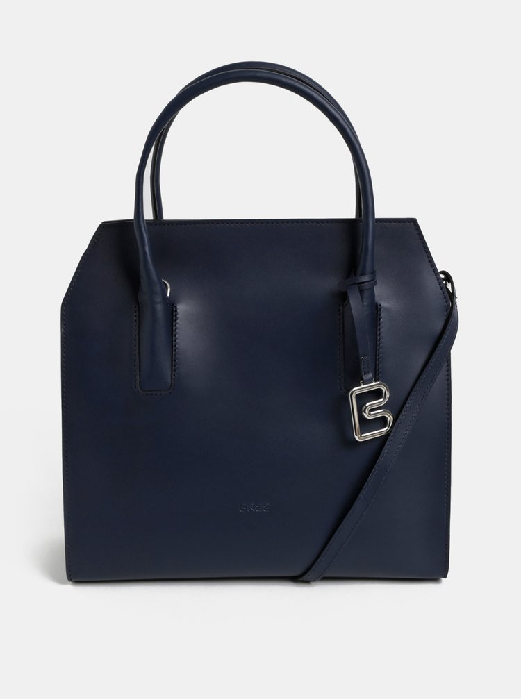 Tmavě modrá kožená kabelka BREE Cambridge 14