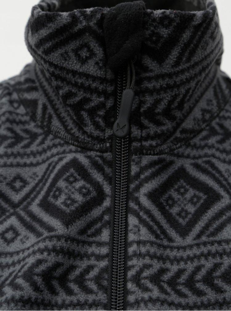 Šedo-černá vzorovaná fleecová mikina Kari Traa