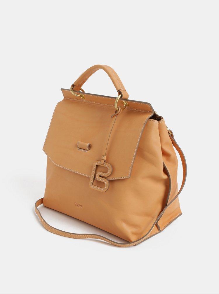 Béžová kožená kabelka BREE Stockholm 31