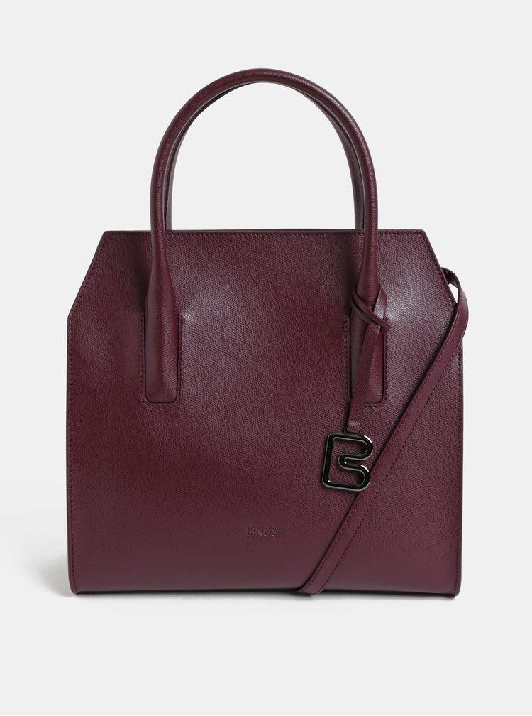 Vínová kožená kabelka BREE Cambridge 14
