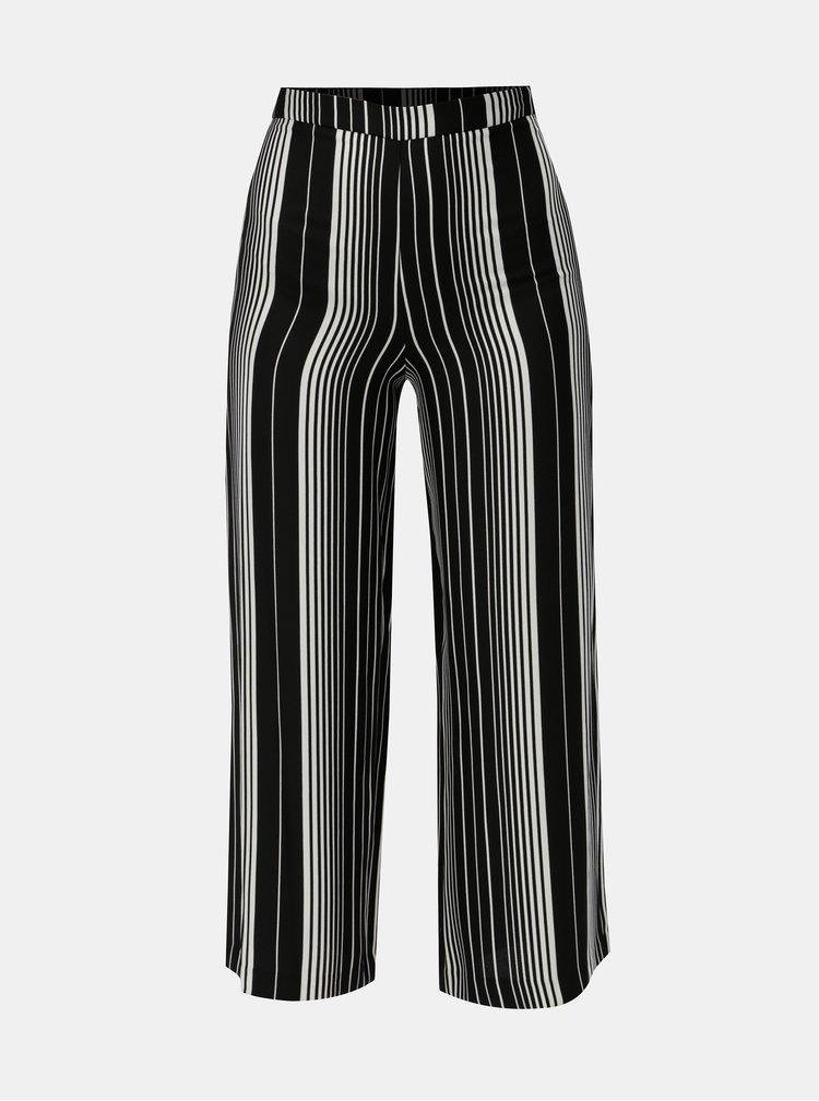 Bielo–čierne pruhované voľné nohavice s vysokým pásom Miss Selfridge Petites