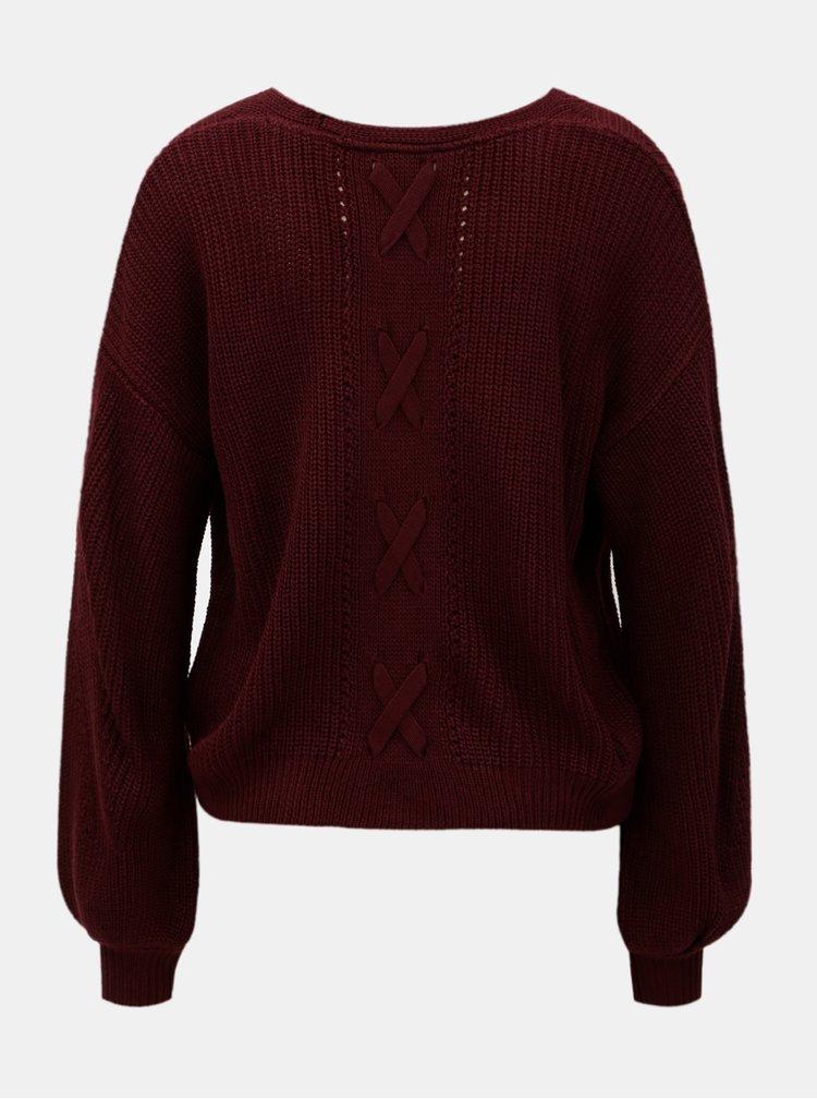 Vínový sveter s véčkovým výstrihom a voľnými rukávmi Miss Selfridge
