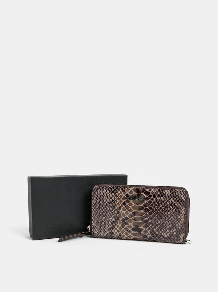 Hnědá kožená malá peněženka s hadím vzorem BREE Issy 134
