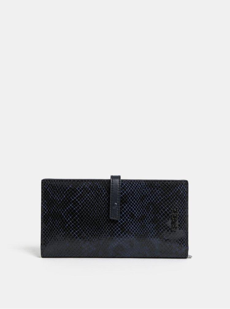 Černá kožená vzorovaná peněženka BREE Issy 136