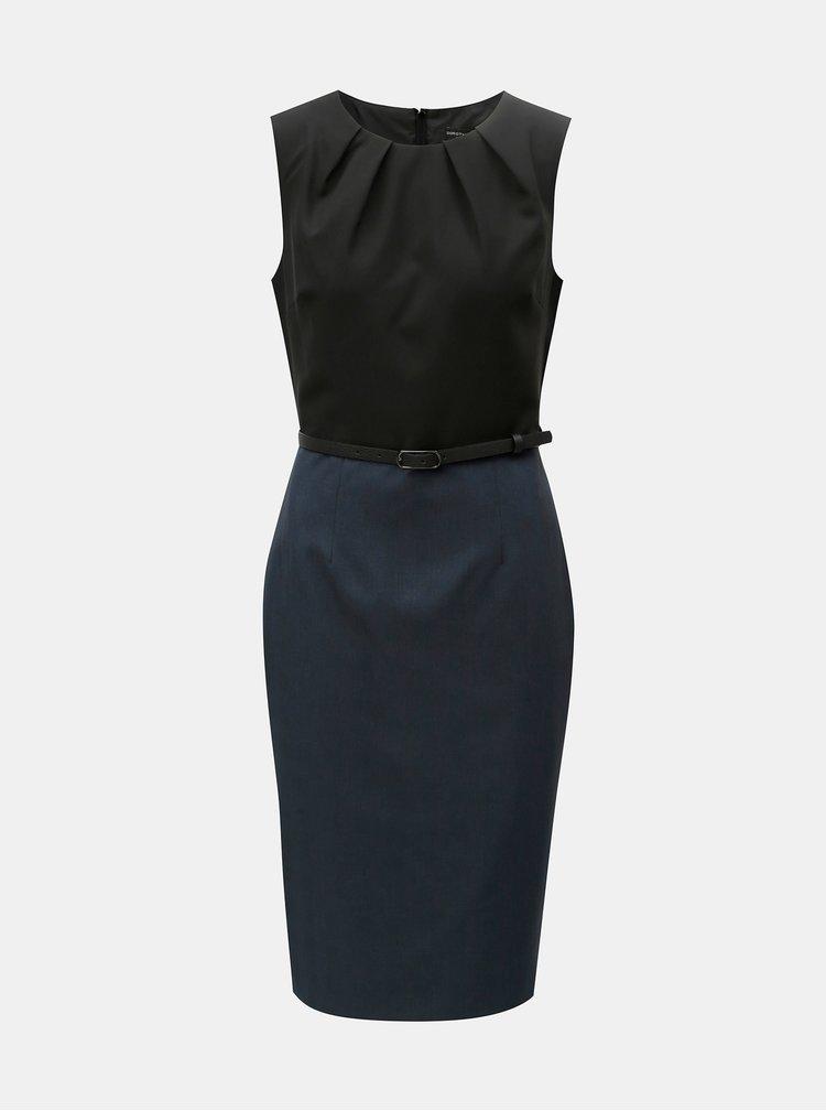 Černo-modré pouzdrové šaty s odnímatelným páskem Dorothy Perkins