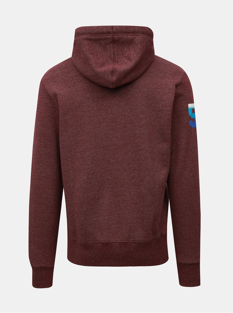 Hanorac barbatesc bordo cu gluga Superdry