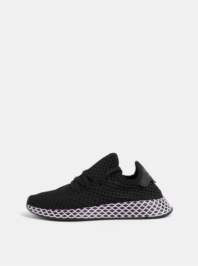 Růžovo-černé dámské síťované tenisky adidas Originals Deerupt