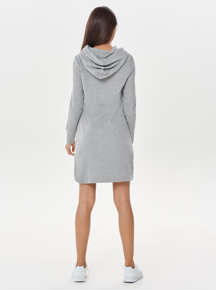 Sivé melírované mikinové šaty s kapucňou ONLY June
