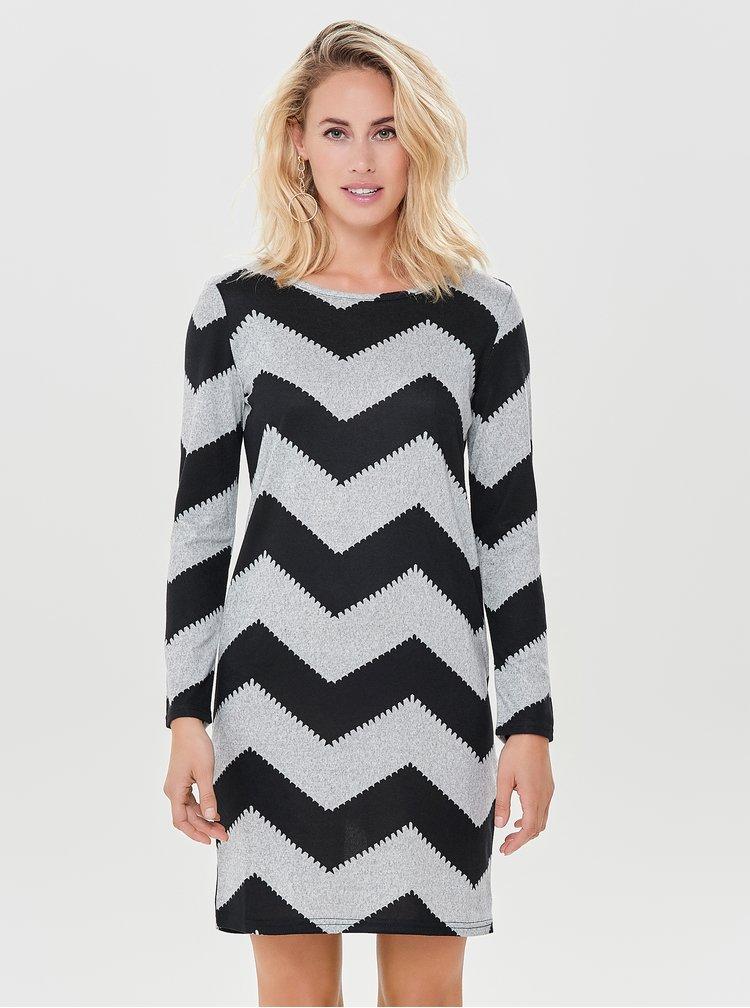 Černo-šedé svetrové vzorované šaty s dlouhým rukávem ONLY Elcos