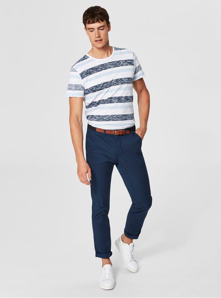 Modré slim fit chino kalhoty s páskem Selected Homme