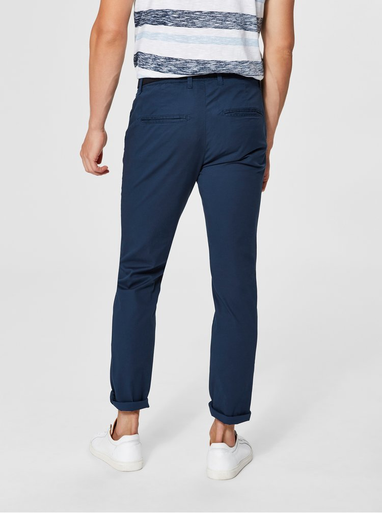 Modré slim fit chino kalhoty s páskem Selected Homme