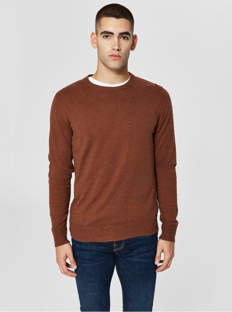 Hnědý žíhaný svetr Selected Homme