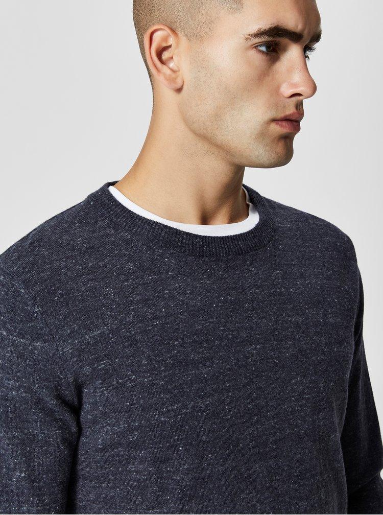 Modrý žíhaný svetr Selected Homme