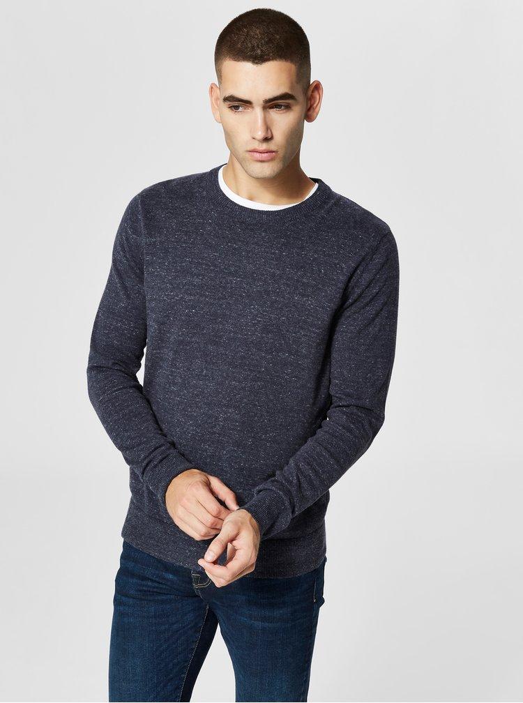Modrý žíhaný basic svetr Selected Homme