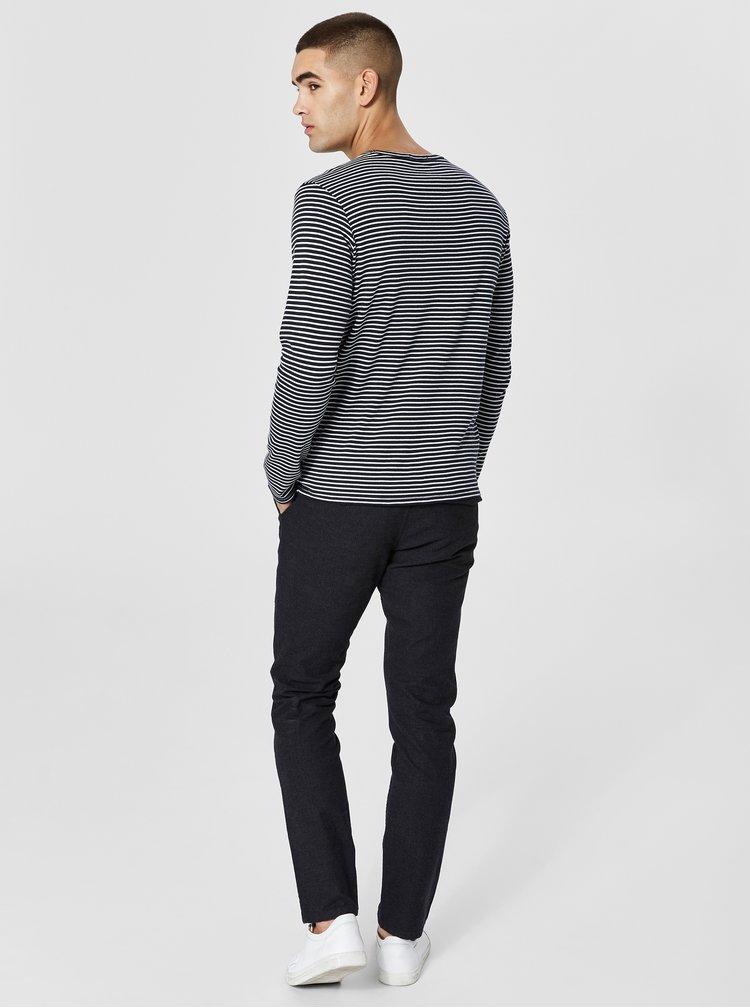 Bielo-modré pruhované basic tričko Selected Homme Hedwin