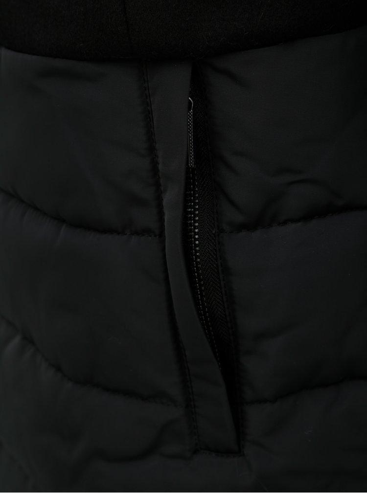Pardesiu de dama negru din lana cu gluga si blana artificiala Superdry