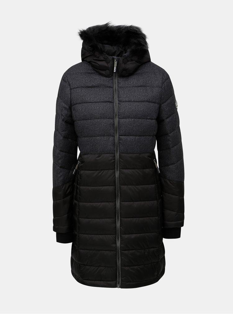 Šedo-černý dámský kabát s kapucí a umělým kožíškem Superdry