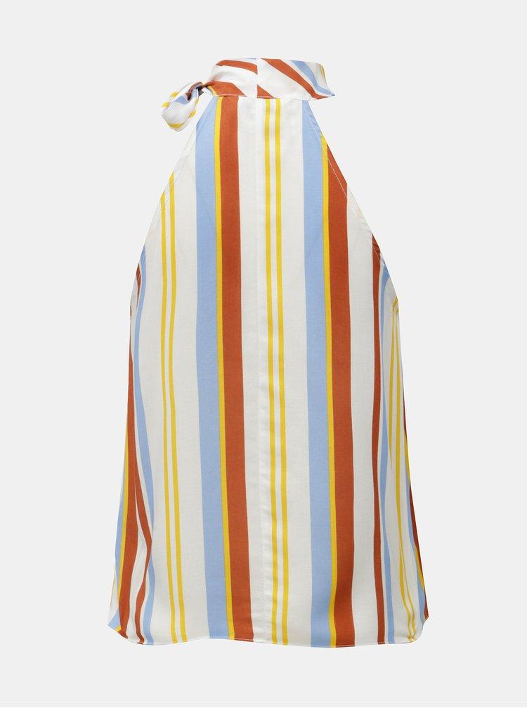 Hnedo–biely pruhovaný top so zaväzovaním Miss Selfridge