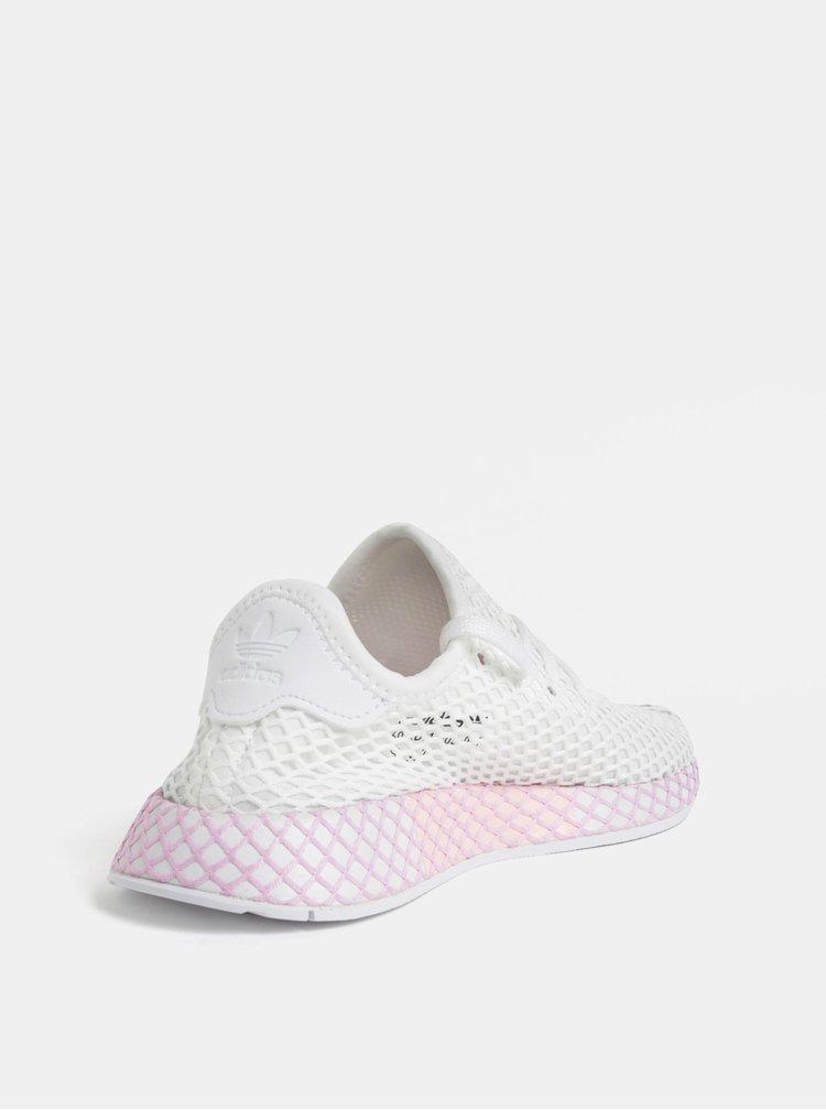 Růžovo-bílé dámské síťované tenisky adidas Originals Deerupt