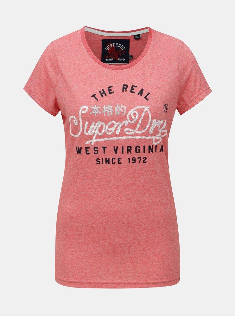 Růžové dámské žíhané tričko s potiskem Superdry