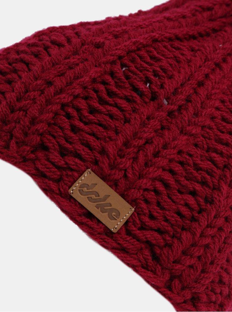 Vínová pletená zimní čepice DOKE