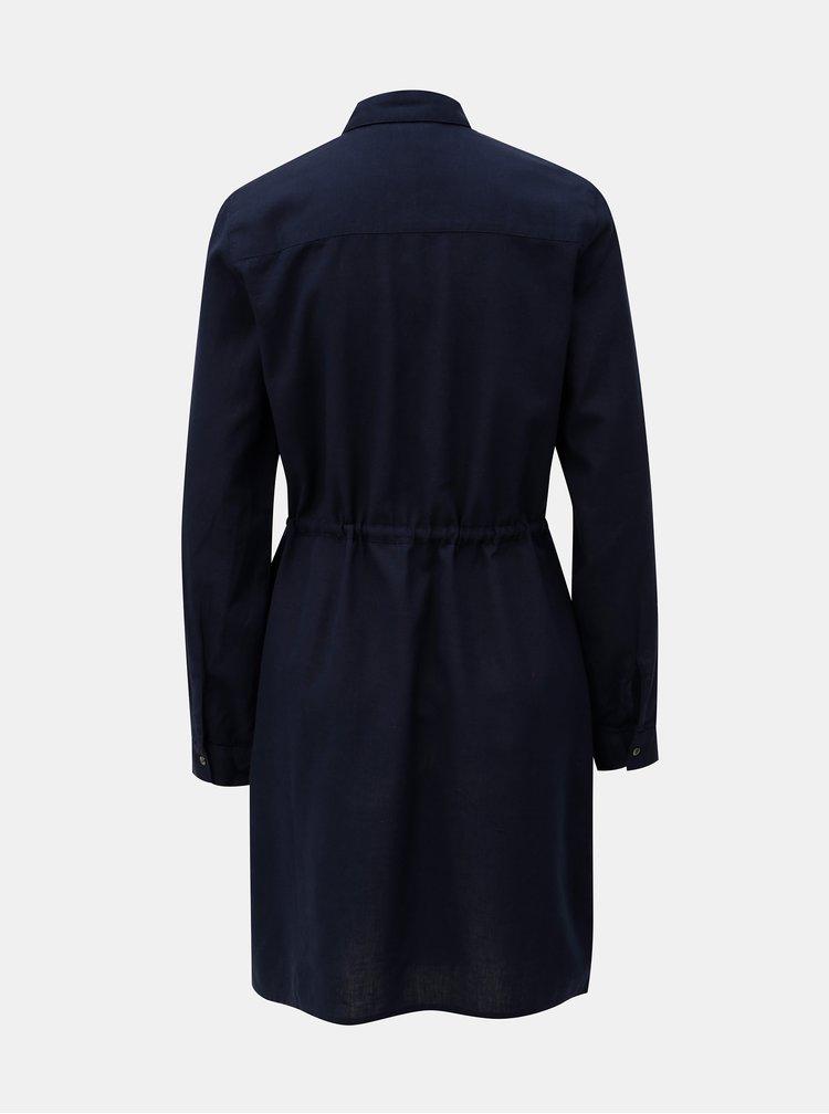 Tmavě modré košilové šaty s květovanou výšivkou Dorothy Perkins