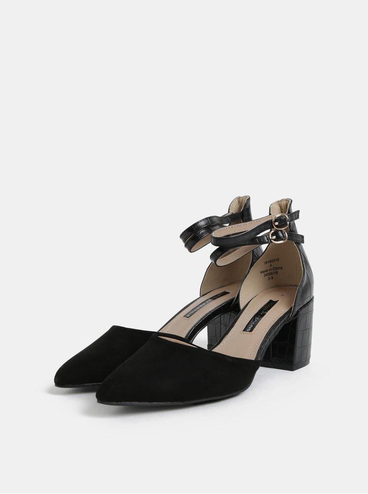 Sandale negre cu model si detalii din piele intoarsa Dorothy Perkins