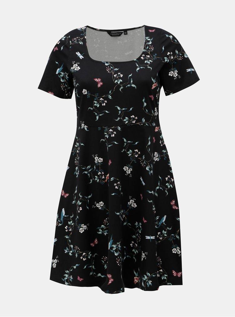 Čierne kvetované šaty Dorothy Perkins Curve