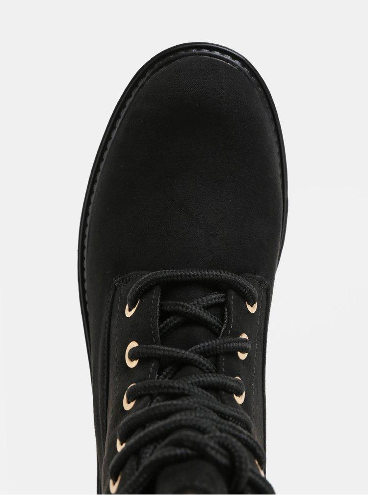 Čierne členkové topánky s umelou kožušinkou v semišovej úprave Dorothy Perkins