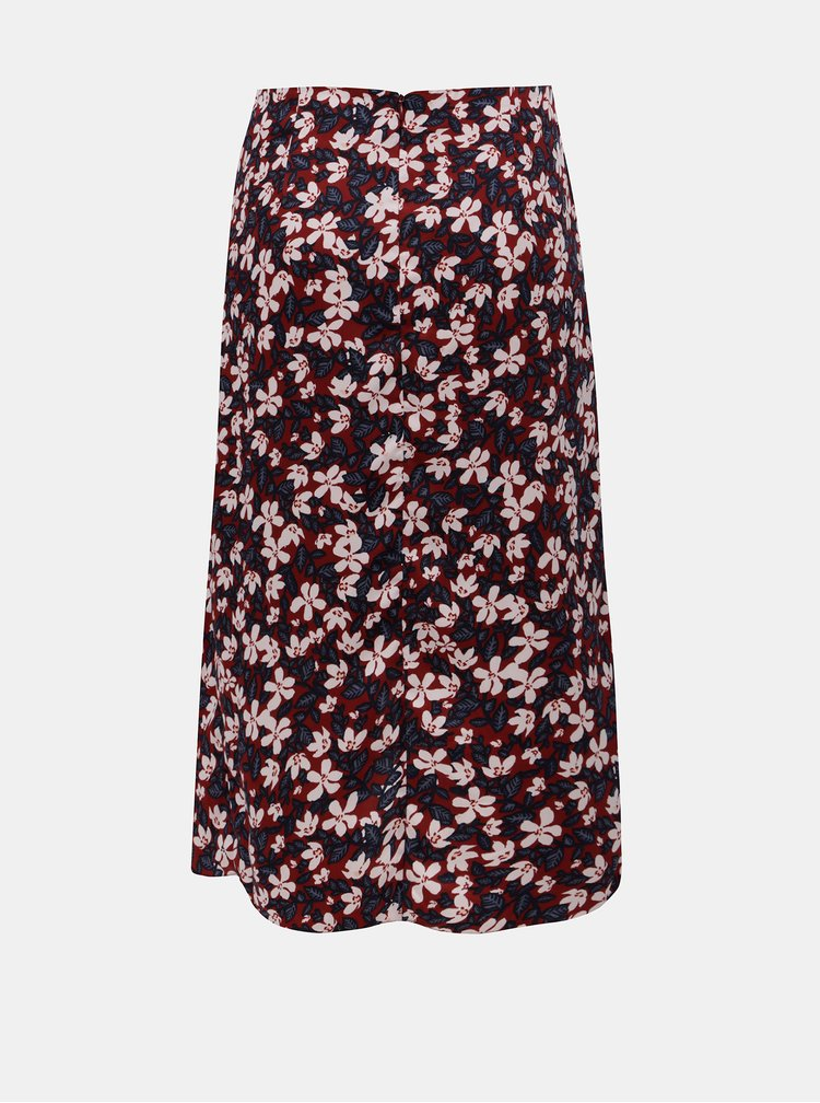 Vínová květovaná sukně VERO MODA Billia
