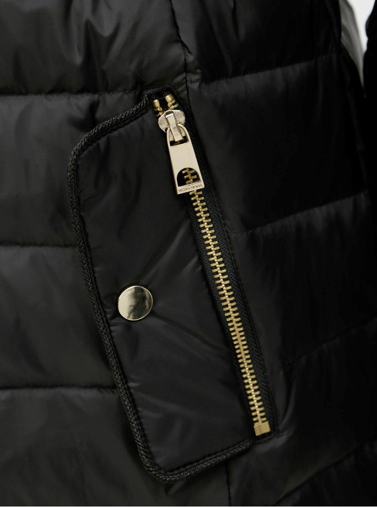 Pardesiu negru matlasat cu blana artificiala VERO MODA Gold