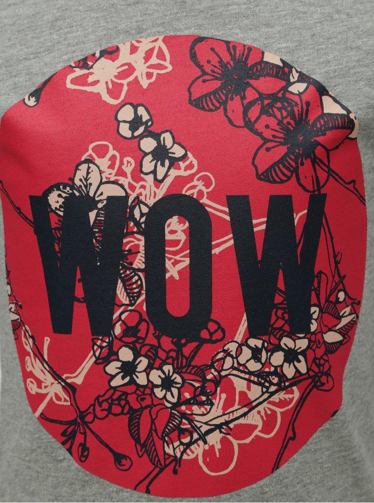 Šedé žíhané holčičí tričko s dlouhým rukávem a potiskem Name it Veen