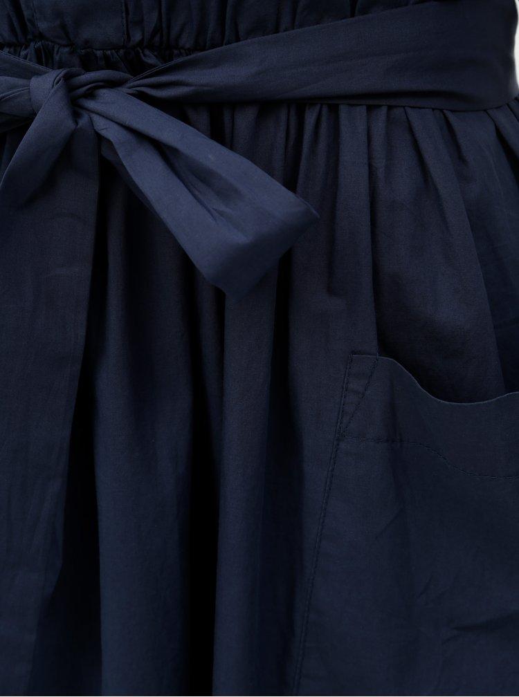 Tmavě modré midišaty s gumou v pase VERO MODA Dougal