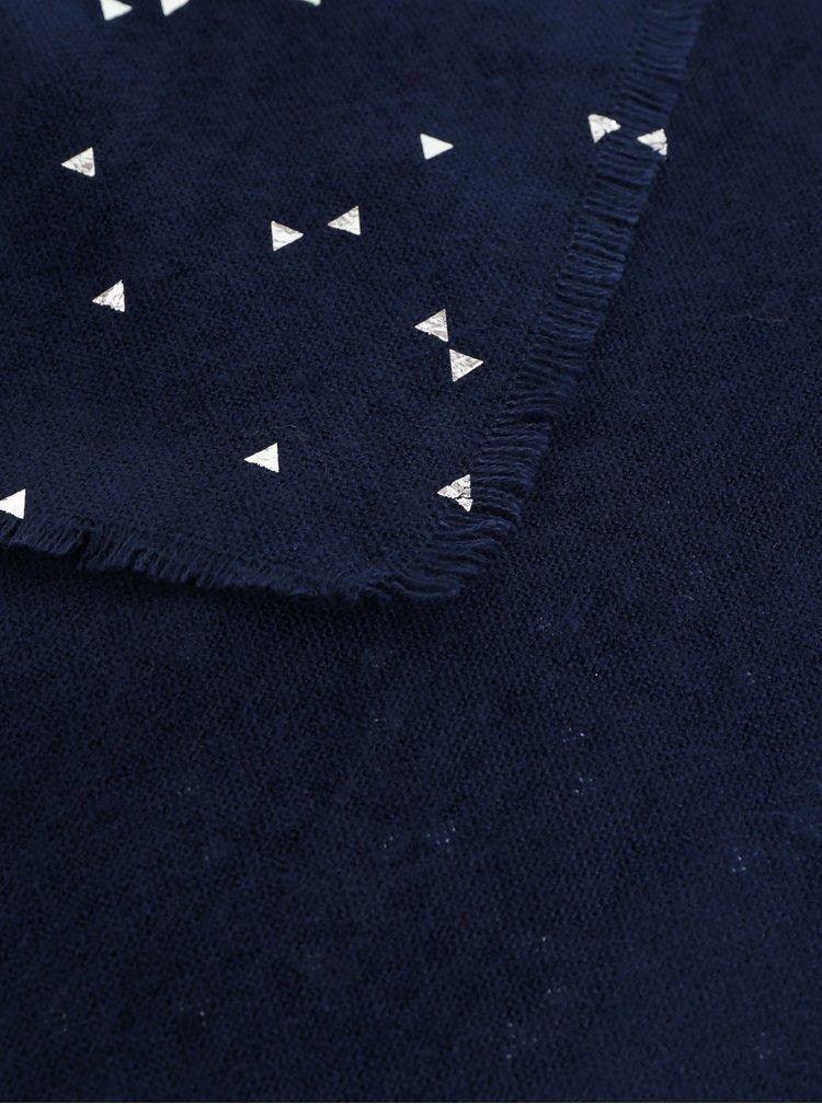Fular albastru inchis cu model Pieces Kira
