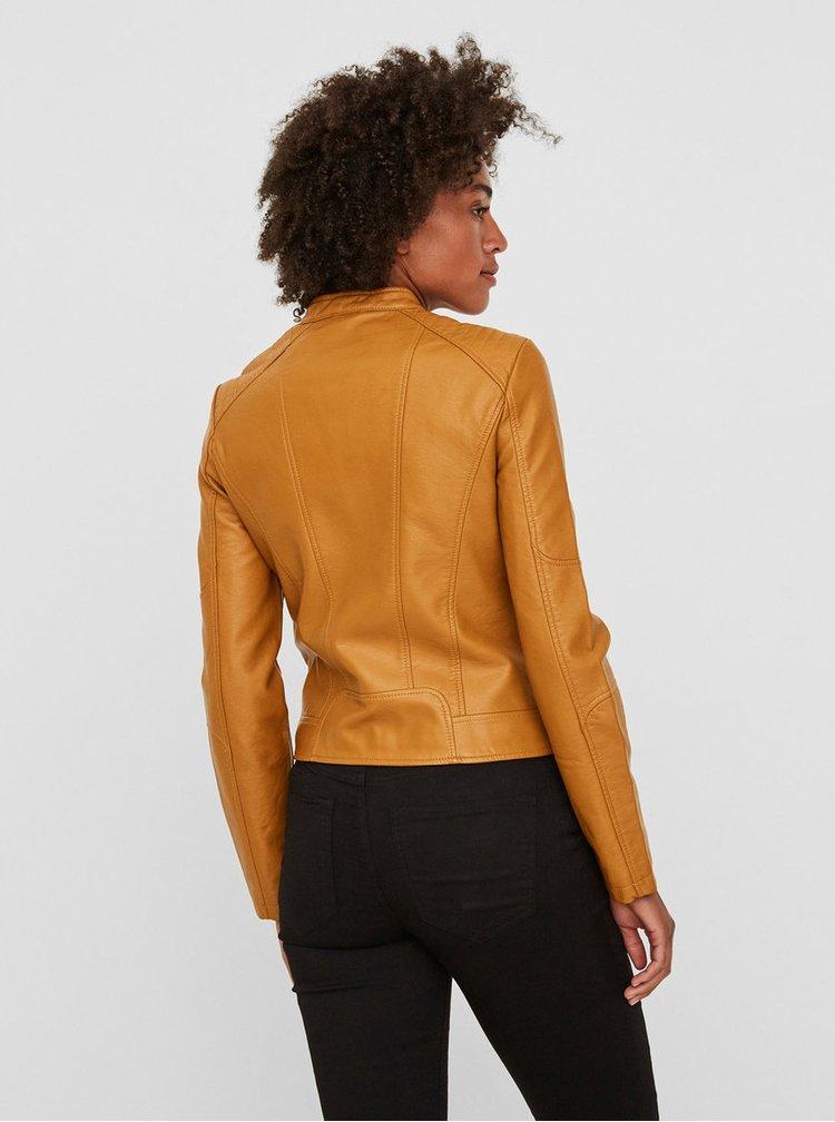 Hořčicová koženková bunda VERO MODA Europe