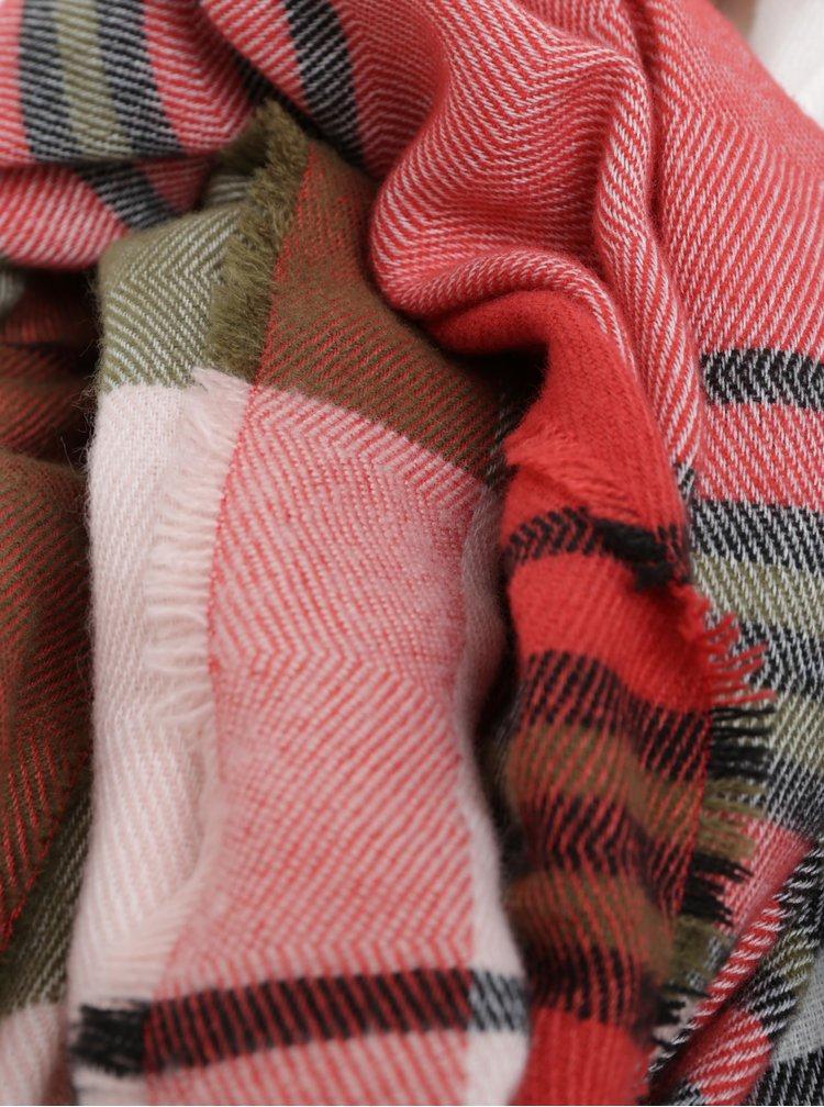 Zeleno–červený pruhovaný šál Pieces Felice