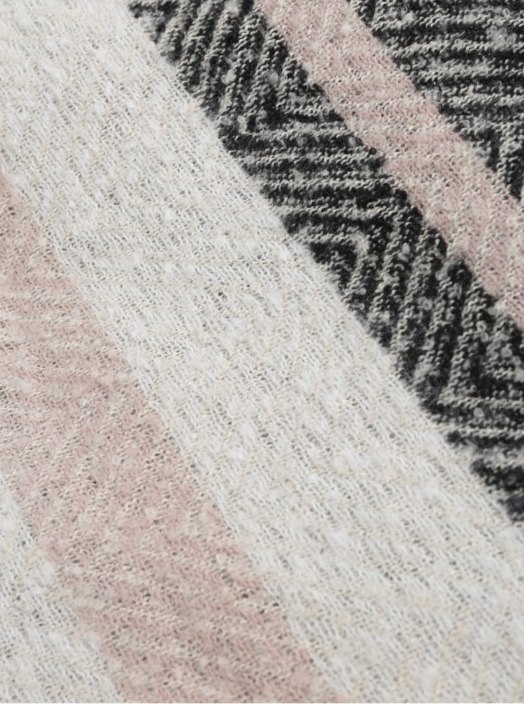 Růžovo-černá vzorovaná šála Pieces Fido