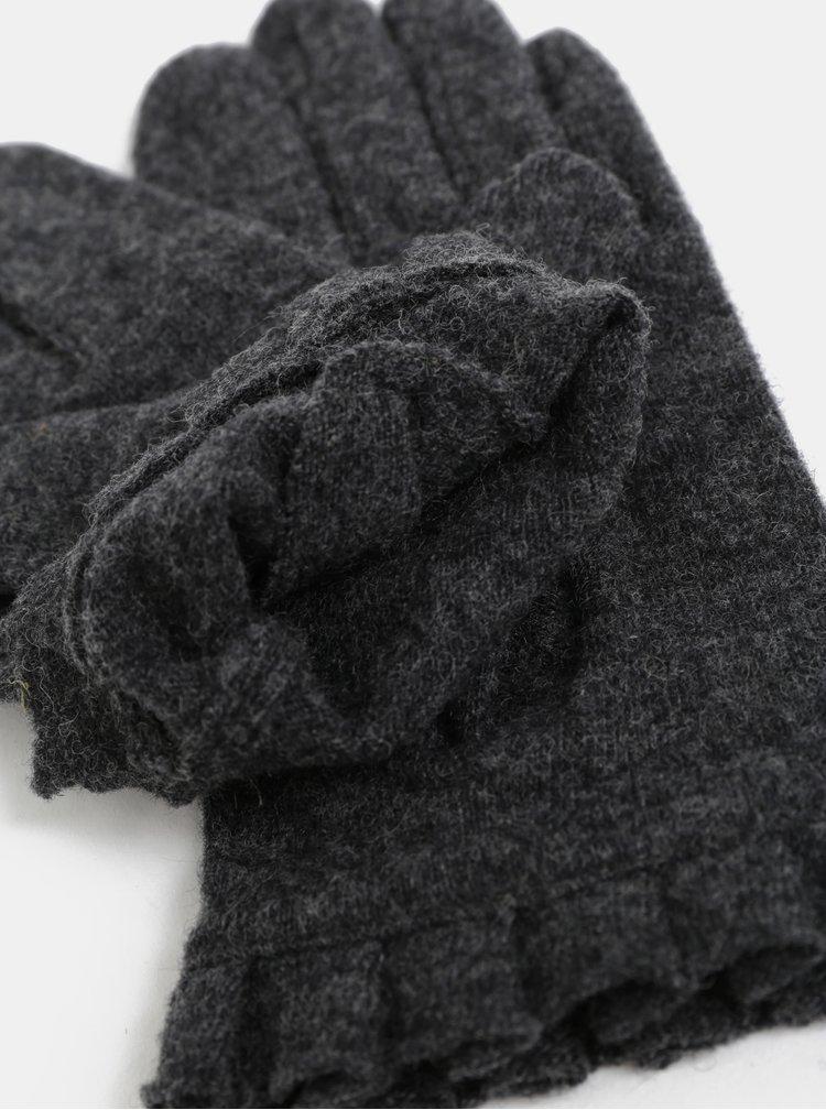 Manusi gri cu volane si amestec de lana Pieces Fulva